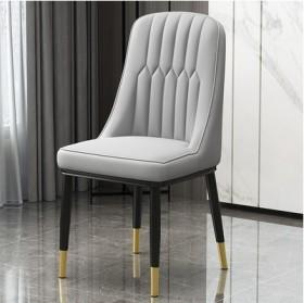 北欧轻奢餐椅后现代餐厅酒店洽谈皮革靠背椅软包凳子家