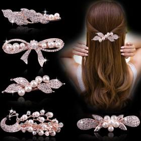 韩国发饰品水钻蝴蝶结简约发夹成人珍珠横夹马尾夹顶夹