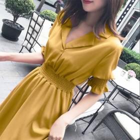 连衣裙2020新款裙子女夏季长款衣服时尚女装收腰长