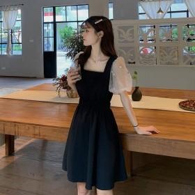 泡泡袖连衣裙女小个子夏季收腰显瘦蕾丝仙气质拼接假