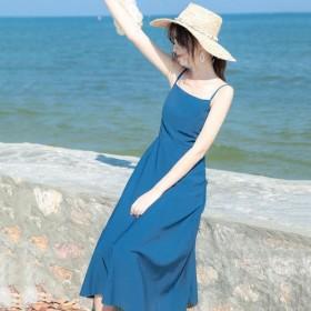 吊带连衣裙女2020夏季新款法式复古显瘦长款