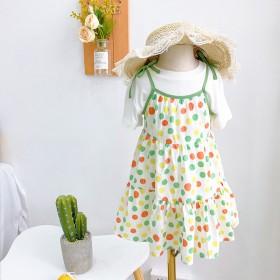 女童吊带圆点连衣裙