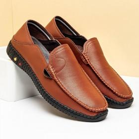 男士商务皮鞋男韩版透气英伦休闲鞋真皮软底一脚豆豆鞋