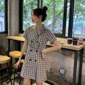 夏季新款复古赫本风双排扣收腰显瘦格子短袖连衣裙女