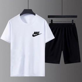 夏季运动服男套装短袖t恤薄款速干潮流跑步5分裤套装