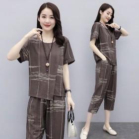 套装女夏季 100%人棉2020新款大码女装