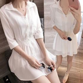 单件/套装女2020夏季新款韩版衬衣雪纺连衣裙短款
