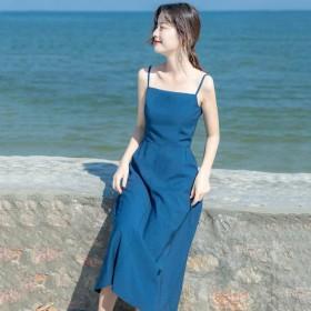 吊带连衣裙女2020夏季新款法式复古显瘦长款过膝性