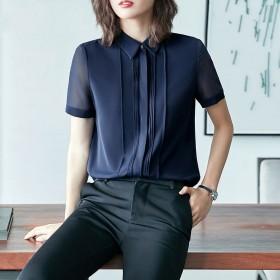短袖雪纺衬衫职业女士衬衣大码宽松韩版设计感上衣潮