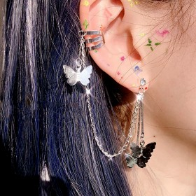 超仙挂式蝴蝶耳钉耳夹韩国气质网红仙气森系小众设计