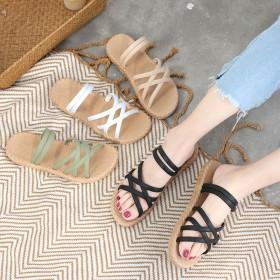新款凉拖鞋女外穿百搭韩版罗马风格厚底沙滩时尚女拖鞋