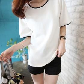 2020夏季新款女t恤学生短袖上衣韩版纯色大码半袖