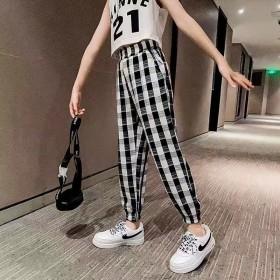 2020格子女童裤子夏季防蚊裤新款洋气灯笼裤中大童