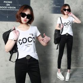 厂家直销夏季新品印花女装短袖t恤圆领韩版打底衫