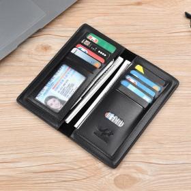 埃克斯袋鼠皮夹子钱包长款多功能卡包超薄两折钱夹