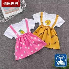 女童夏装连衣裙新款韩版假两件儿童洋气小童纯棉裙子小