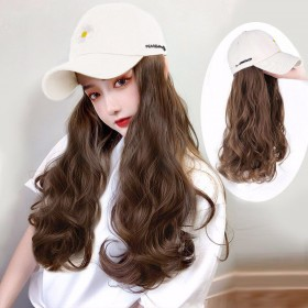 假发女长发假发帽子一体时尚长卷发女夏天款韩版小雏菊