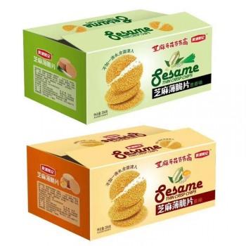 黄浦和记蛋清芝麻薄脆饼干瓦片206g 香甜煎饼传统