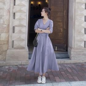 典雅连衣裙香芋紫气质女神范赫本风可盐可甜大领口时尚