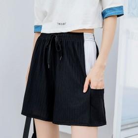 夏季新款休闲短裤女学生韩版宽松大码竖条冰丝有口袋五