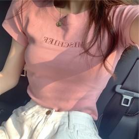 百搭简约女T恤字母刺绣2020夏季韩版潮流时尚T恤