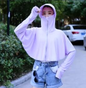 帽子女夏季防晒遮阳大帽檐纯色加长袖短外套户外防晒衣
