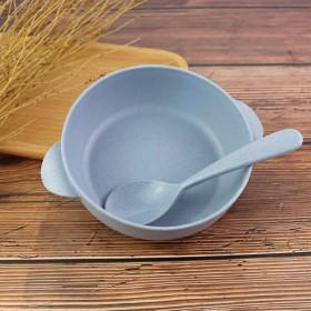 餐具小麦秸秆儿童碗送勺子可降解环保饭碗米饭碗甜品碗