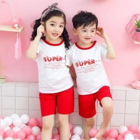 2020夏季童装新款韩版家居服儿童短袖套装洋气男女