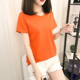 夏季新款糖果色基础款纯色短袖T恤女闺蜜装四季