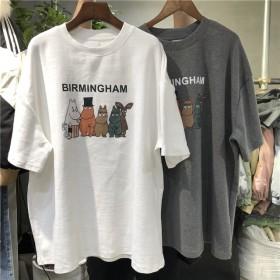 韩国夏装T恤女2020新款大码中长款短袖体恤衣服上