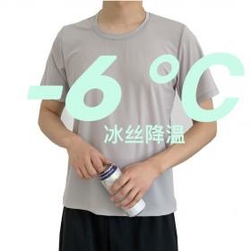 冰丝网眼短袖T恤夏季速干宽松加肥男士透气上衣