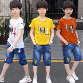 【95棉T恤+牛仔中裤】童装男童短袖套装2020