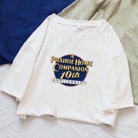 白色短袖T恤女2020夏新款宽松外贸女装...