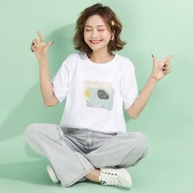 短袖T恤女2020新款宽松版打底衫韩版时尚大码白色
