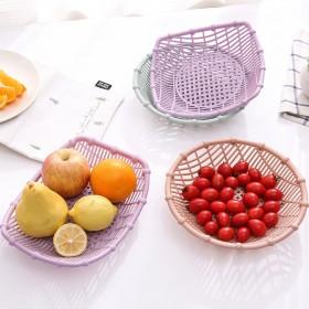 一个圆形沥水仿竹节果蔬篮船型水果篮子食物放置篮镂空