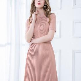 2020夏季新款纯色收腰显瘦百褶连衣裙