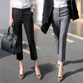 西装裤女高腰九分裤直筒小脚休闲裤韩版职业黑色小西裤
