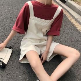 夏季新款大码胖mm韩版宽松显瘦可爱高腰背带短裤