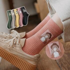 新款抽条女堆堆袜 日系时尚印花女袜 中筒袜子WL