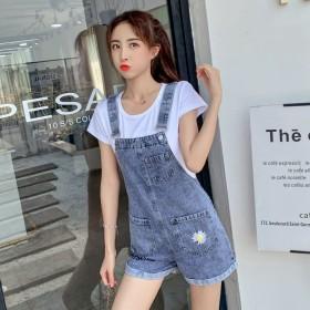 时尚减龄牛仔短裤女夏a字宽松小雏菊背带裤