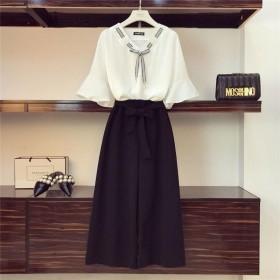 套装夏季新款雪纺衫休闲女装学生韩版系带宽松时尚阔腿