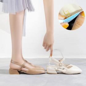 新款韩版学生复古中跟一字带单鞋网红包头凉鞋女粗跟百