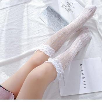 洛丽塔蕾丝袜子lolita夏季中筒镂空小腿网袜白色
