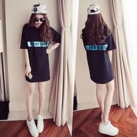 2020韩版夏季新品中长款字母印花短袖T恤女潮
