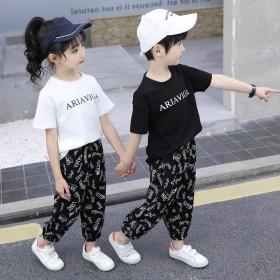 新款夏季童装男童女童夏装儿童套装中大童洋气套装