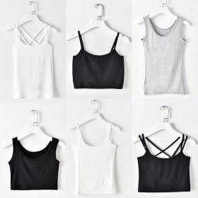 吊带背心女士黑白色打底衫短款小背心吊带衫修身性感内