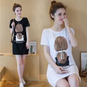 2020夏季新款女装韩版连衣裙印花女中长款短袖T恤