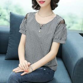 2020夏装新款韩版宽松露肩格子短袖