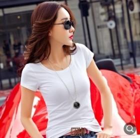 2020欧美春夏季新款女式白色短袖上衣T恤 女短打