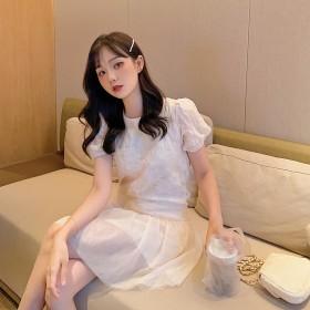 夏季新款提花法式公主裙复古浮雕小雏菊连衣裙小ge'